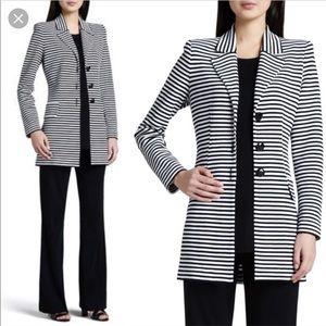 Misook Amelie striped long jacket blazer